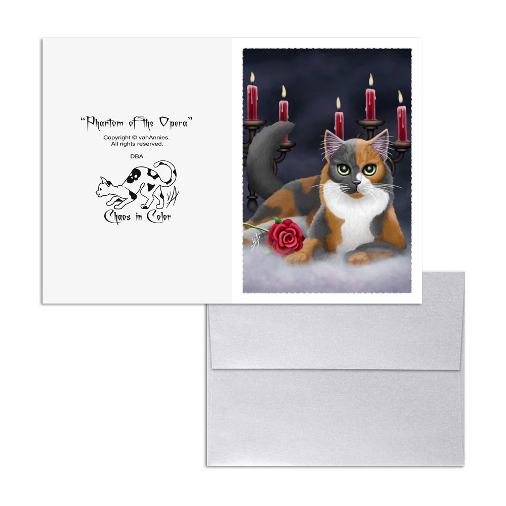 Phantom of the Opera (Calico Cat) 5x7 Art Card Print