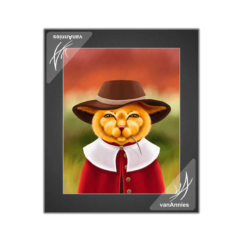 Pilgrim Cat with Thanksgiving Mouse Matted Print
