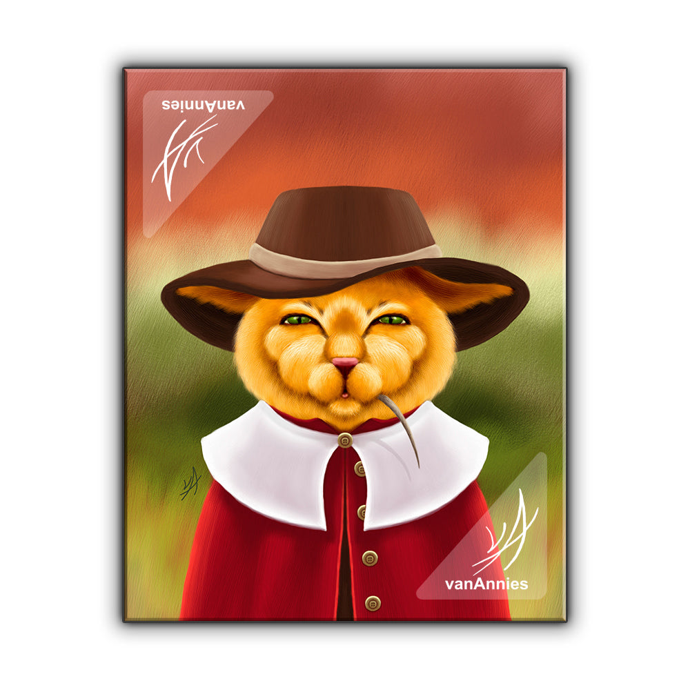 Pilgrim Cat Wrapped Canvas Print