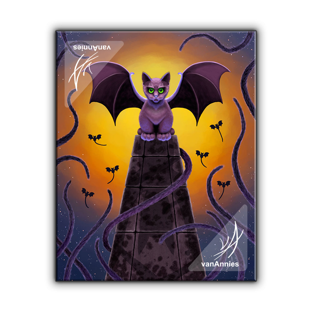 Bat Cat on a Pillar of Souls Wrapped Canvas Print
