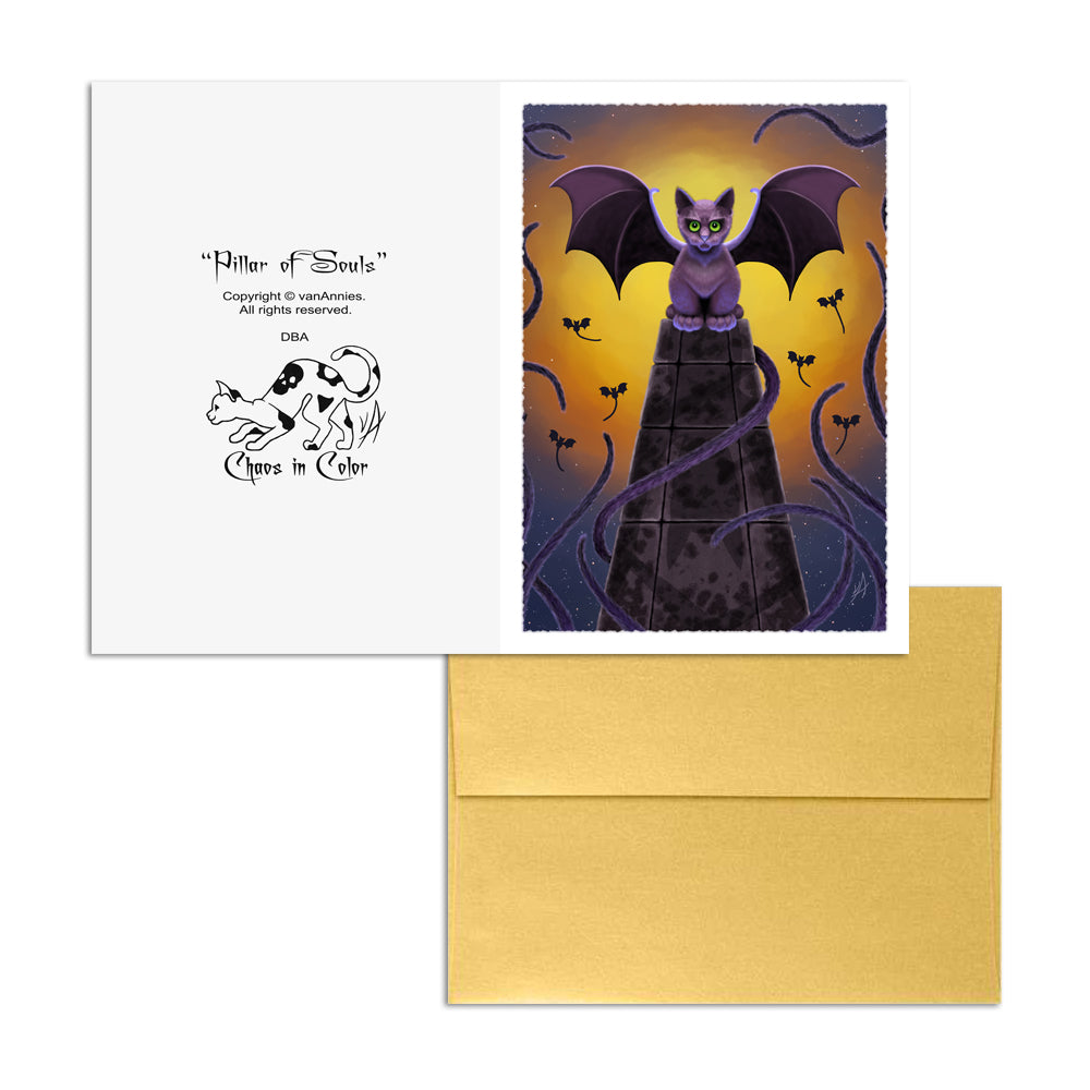 Pillar of Souls (Bat Winged Cat) 5x7 Art Card Print