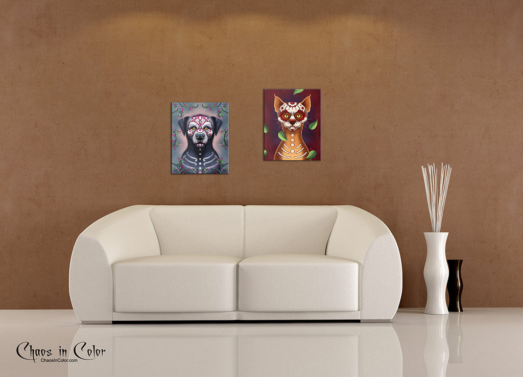 Grimaldi the Sugar Skull Dog Wrapped Canvas Print - Chaos in Color - 2