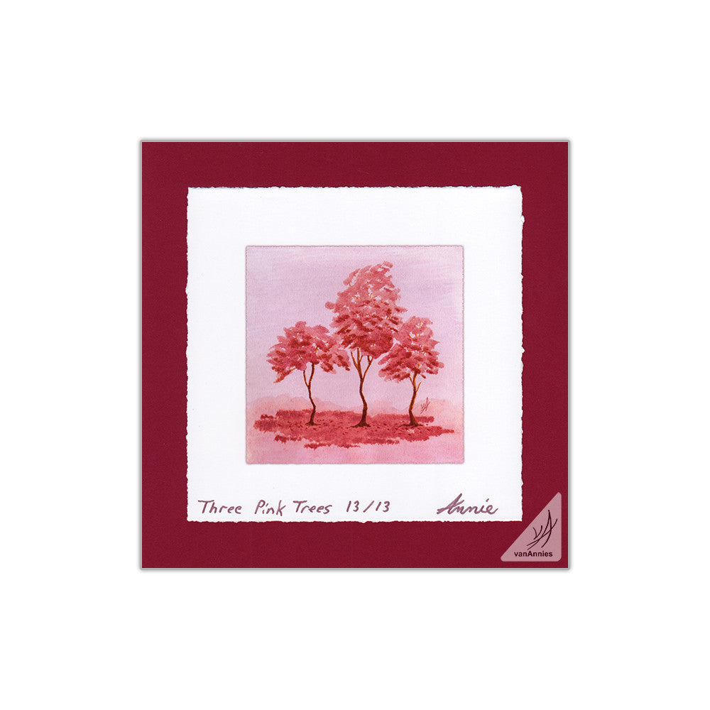 Three Pink Trees 8x8 Deckle Edge Print