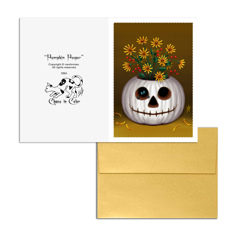 Pumpkin Peeper Autumn 5x7 Art Card Print