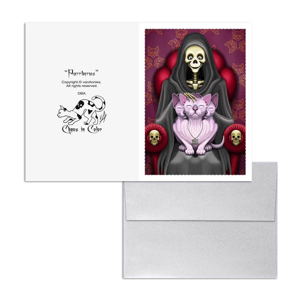Purrberus the Three-Headed Sphynx Cat 5x7 Art Card Print