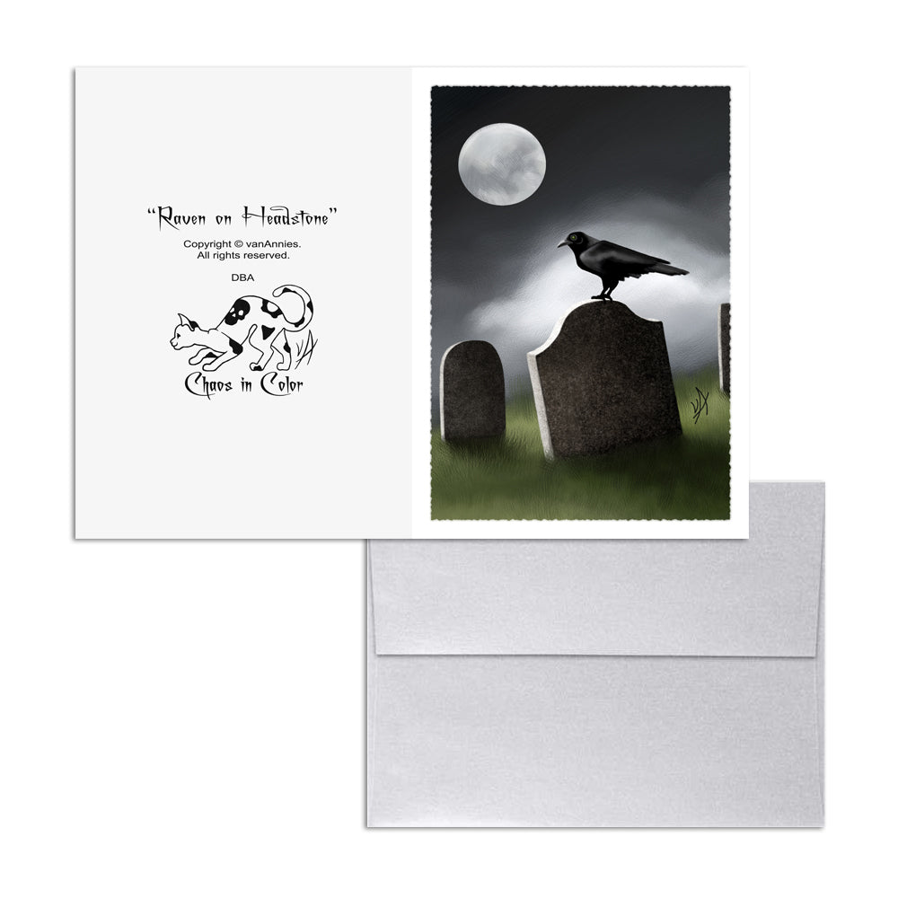 Raven on Headstone 5x7 Art Card Print