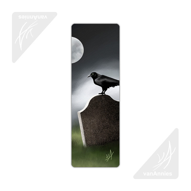 Raven on Headstone Metal Bookmark
