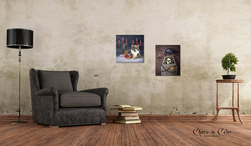 Skeleton Key with Raven Wrapped Canvas Print - Chaos in Color - 3