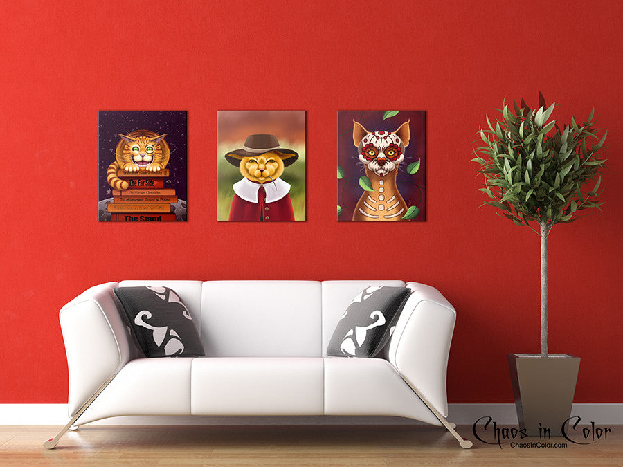 Dulce Gato the Sugar Skull Cat Wrapped Canvas Print - Chaos in Color - 2