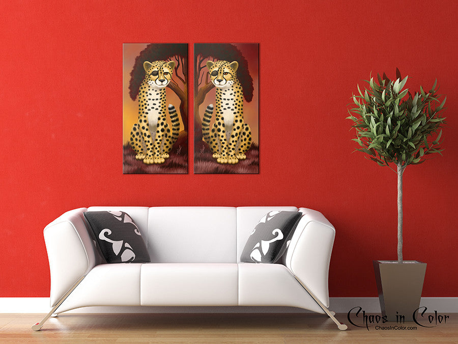 Cheetah Twins Wrapped Canvas Print Set - Chaos in Color - 3