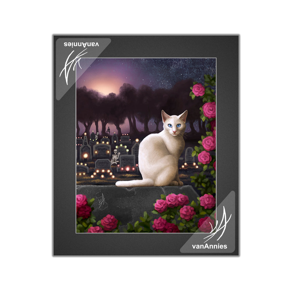 Rendezvous (Cat with Skeletons in Cemetery) Matted Print