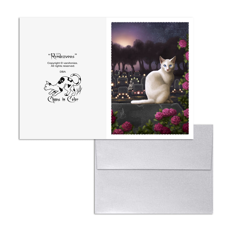 Rendezvous (Cat with Skeletons in Cemetery) 5x7 Art Card Print