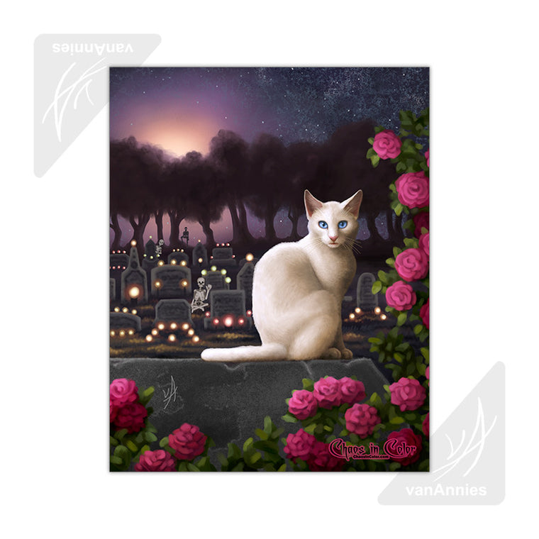 Rendezvous (Cat with Skeletons in Cemetery) 11x14 Poster
