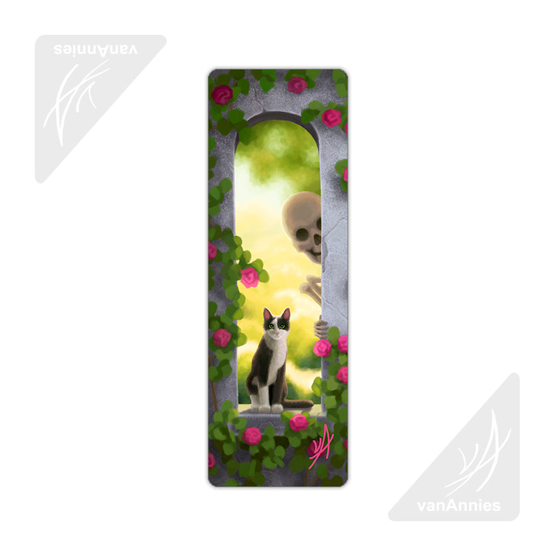 Requiem No. Ten (Cat and Skeleton in Window) Metal Bookmark