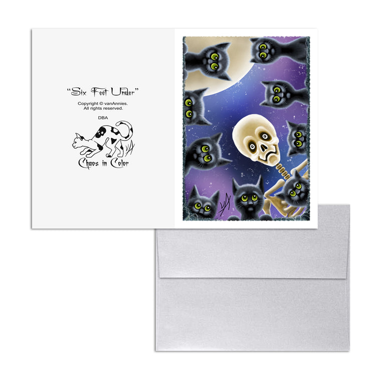 Six Feet Under (Black Cats with Skeleton) 5x7 Art Card Print