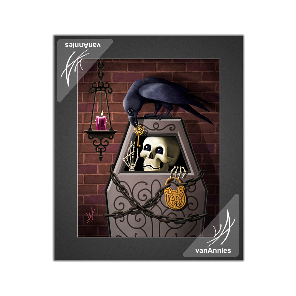 Skeleton Key with Raven Matted Print