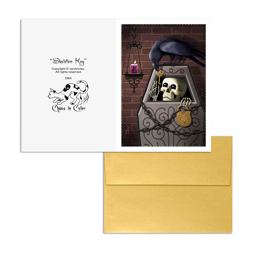 Skeleton Key (With Raven) 5x7 Art Card Print