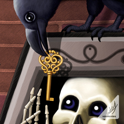 Skeleton Key with Raven Wrapped Canvas Print