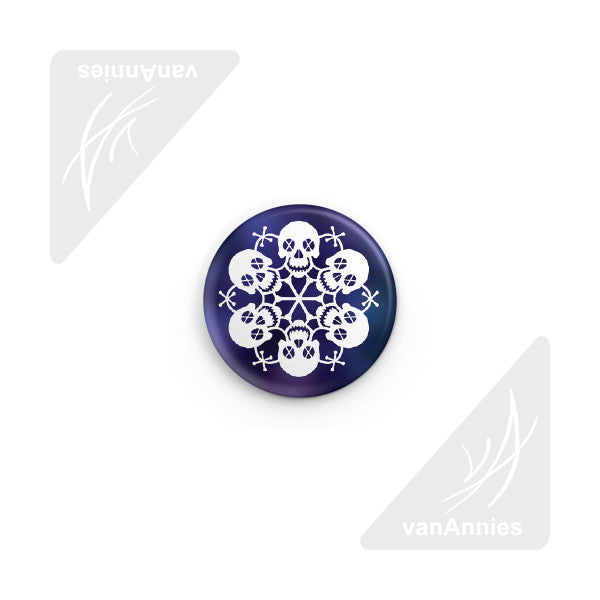 Let It Snow! Skull Snowflake Pin-back Button