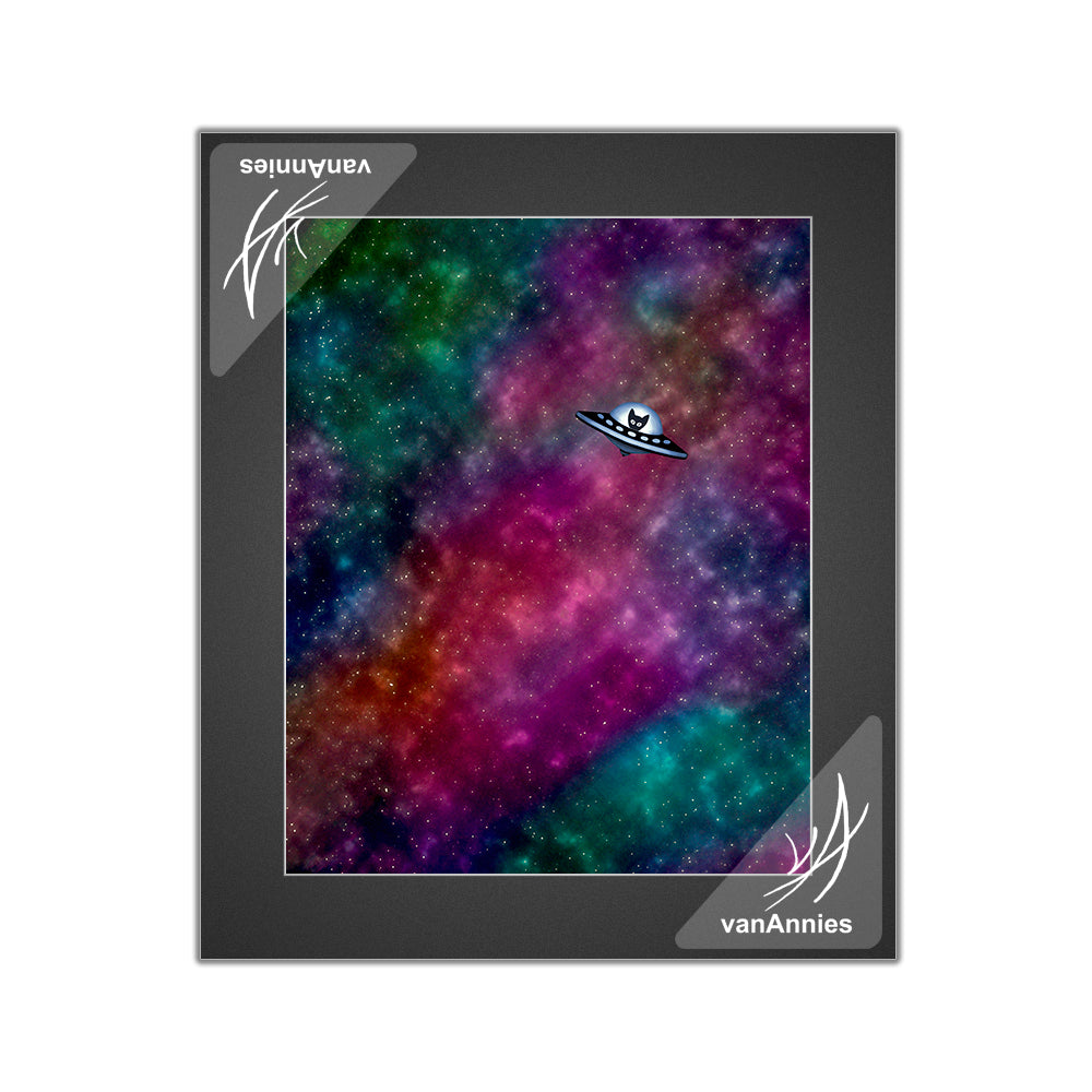 Spaceship Kitten Matted Print
