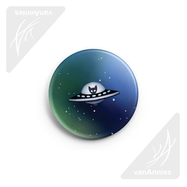 "Spaceship Kitten 2.25"" Pin-back Button"