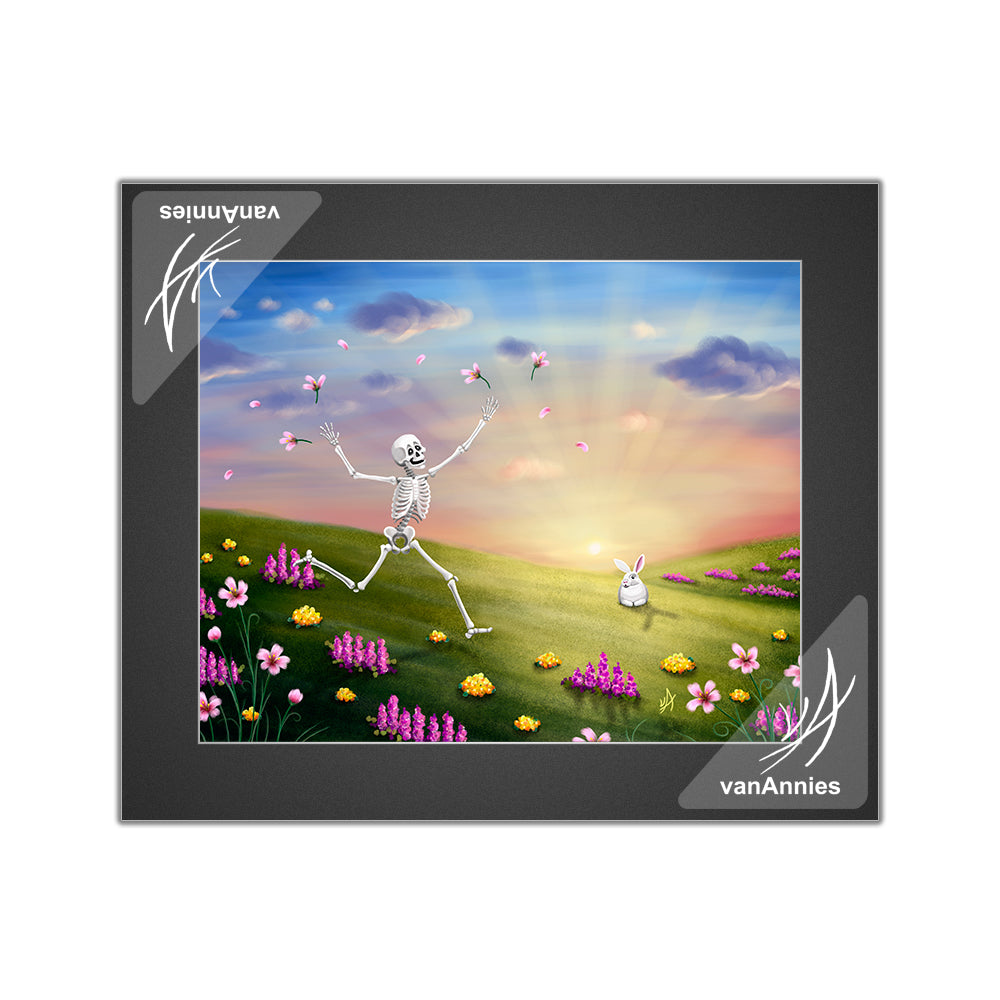 Spring Fling Skeleton with Bunny Matted Print