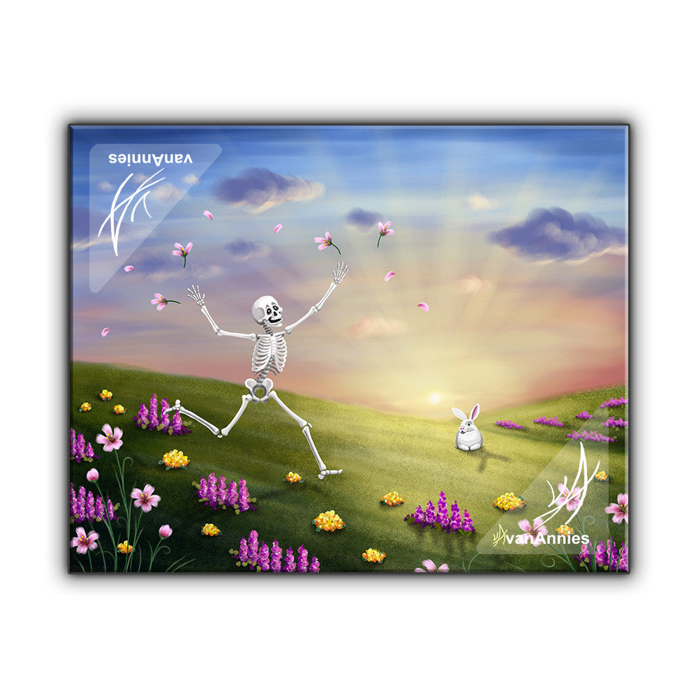 Spring Fling Skeleton with Bunny Wrapped Canvas Print