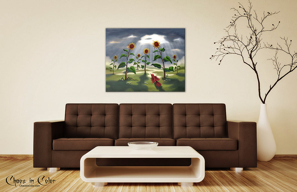 Outnumbered Revenge of the Sunflowers Wrapped Canvas Print - Chaos in Color - 3