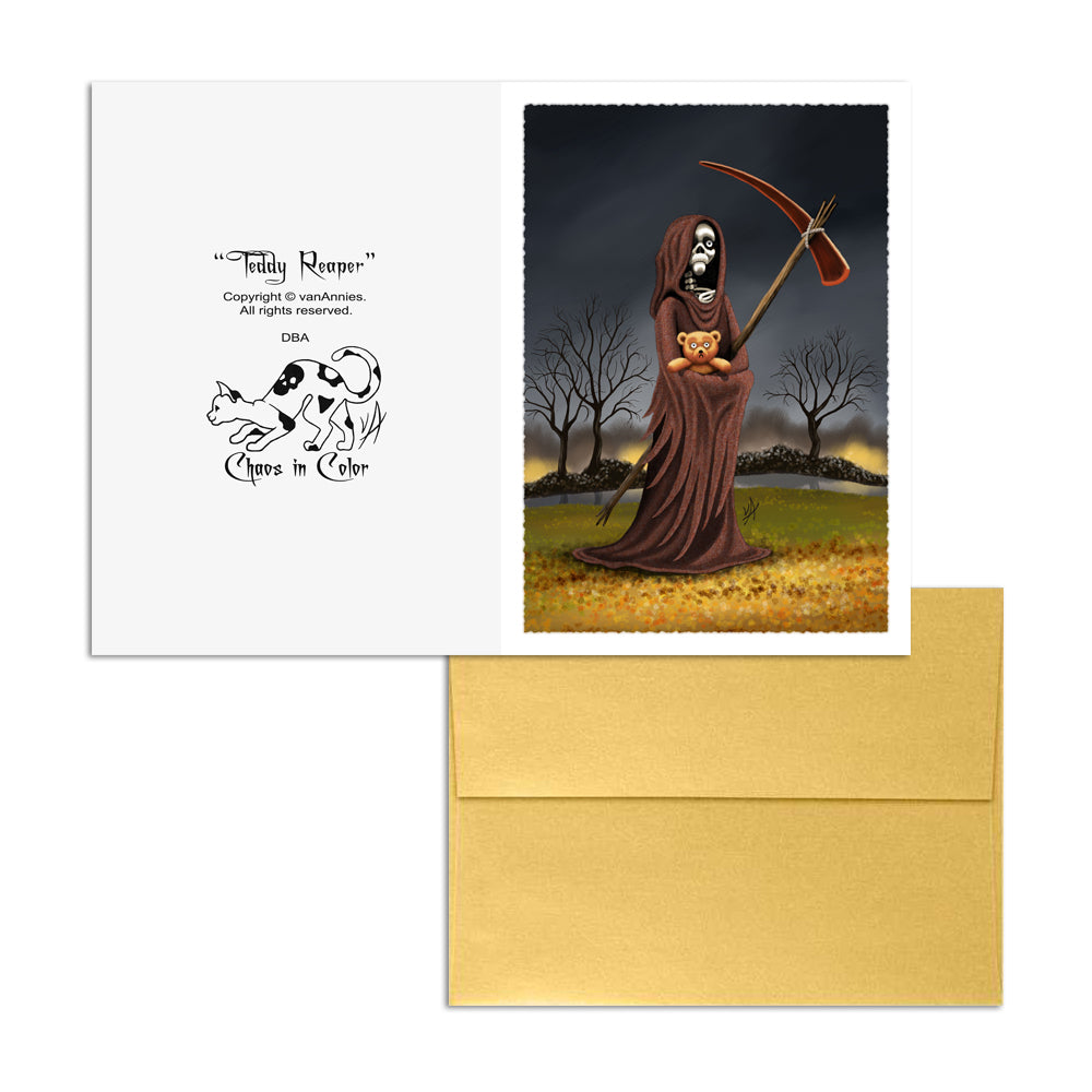 Teddy Reaper Autumn 5x7 Art Card Print