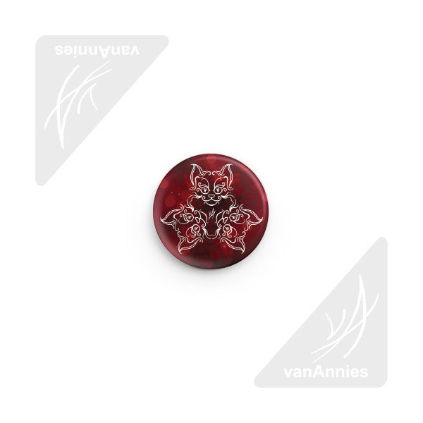 Tri-Cat Red Pin-back Button