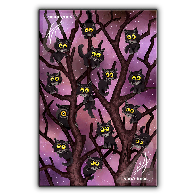 Up a Tree (Thirteen Cats and an Owl) Wrapped Canvas Print