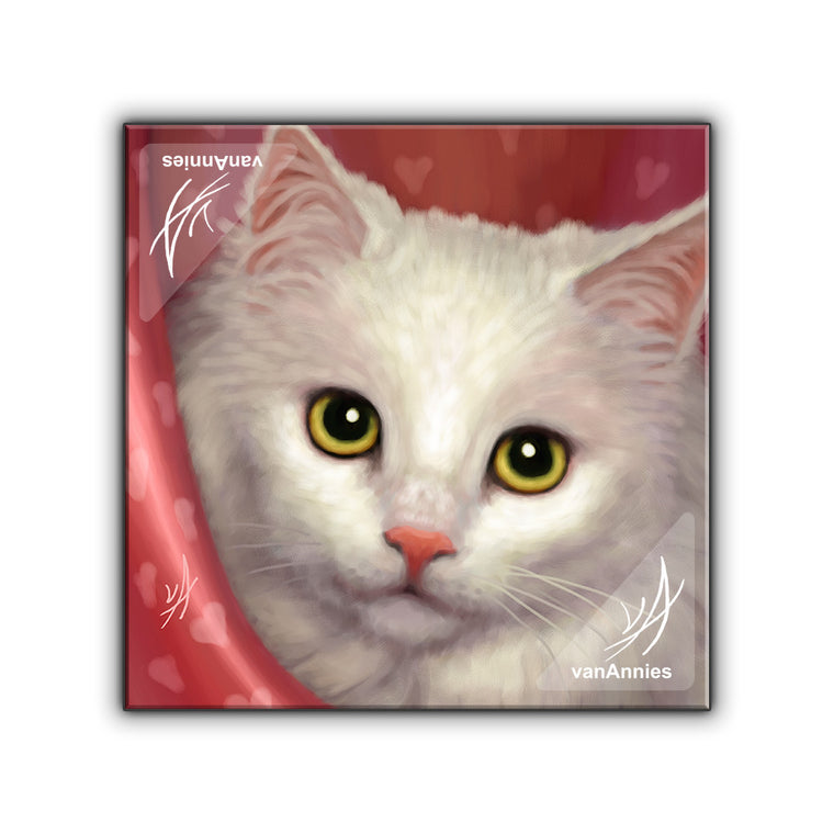 Valentine (White Kitten) Wrapped Canvas Print