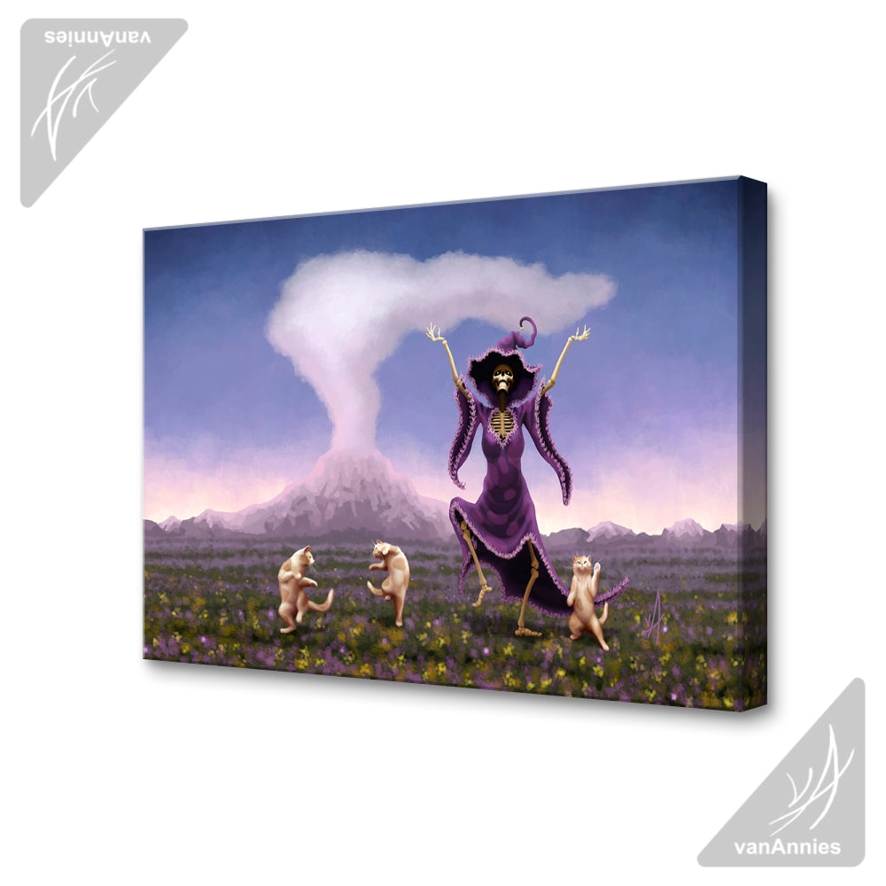 Volcanic Jig (Skeleton Witch Dancing With Cats) Wrapped Canvas Print
