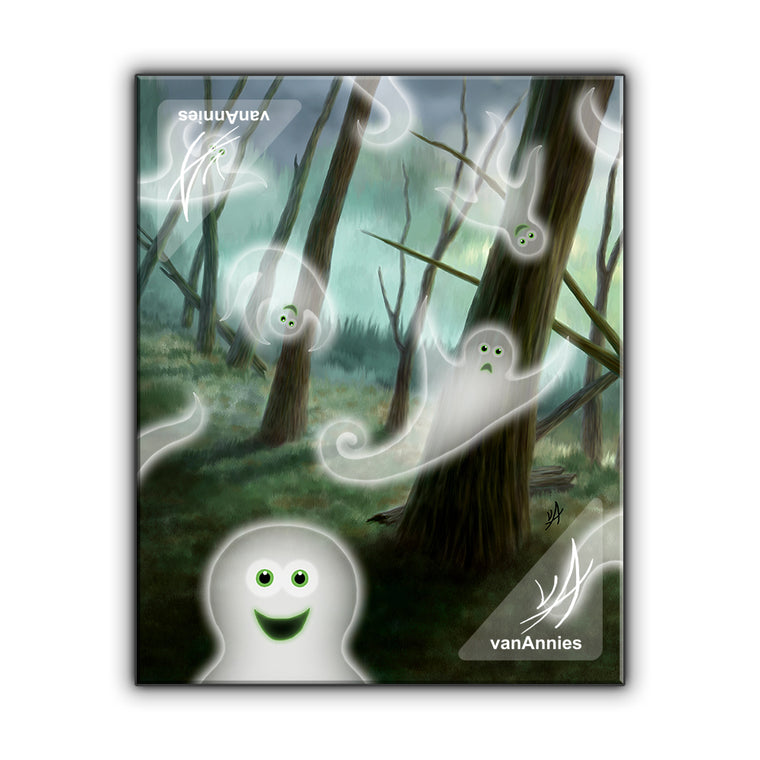 Vorspookum the Happy Halloween Ghosts Wrapped Canvas Print