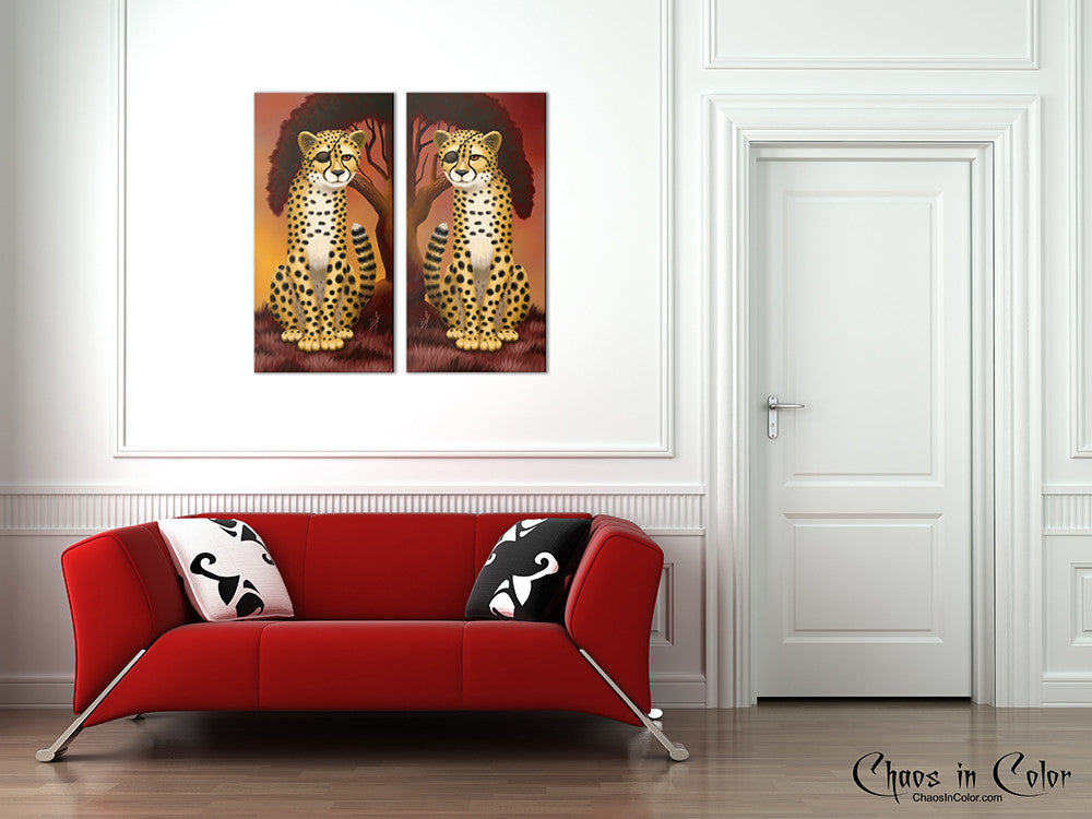 Cheetah Twins Wrapped Canvas Print Set - Chaos in Color - 4
