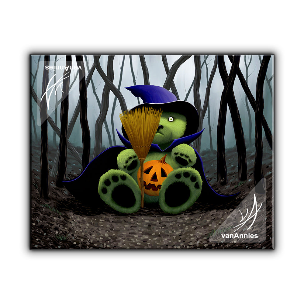 Teddy Bear Halloween Witch Wrapped Canvas Print