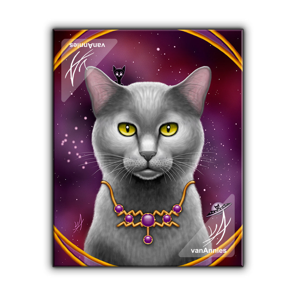 Zodiac Cat Aquarius with February Birthstone Wrapped Canvas