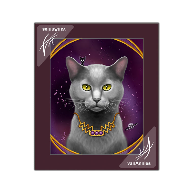 Zodiac Cat Aquarius (Special Edition) Matted Print
