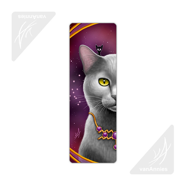 Zodiac Cat Aquarius Metal Bookmark