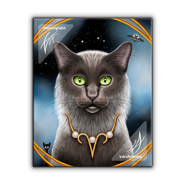 Zodiac Cat Aries with April Birthstone Wrapped Canvas