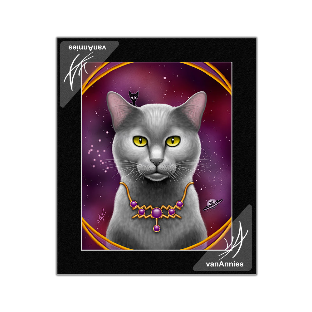 Zodiac Cat Aquarius Matted Print