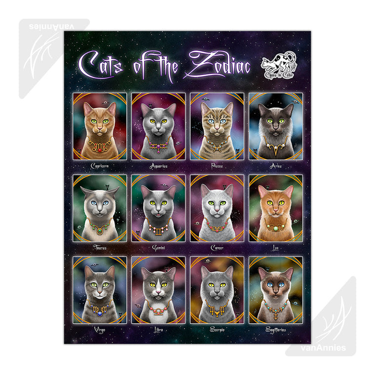 Cats of the Zodiac 22x28 Poster