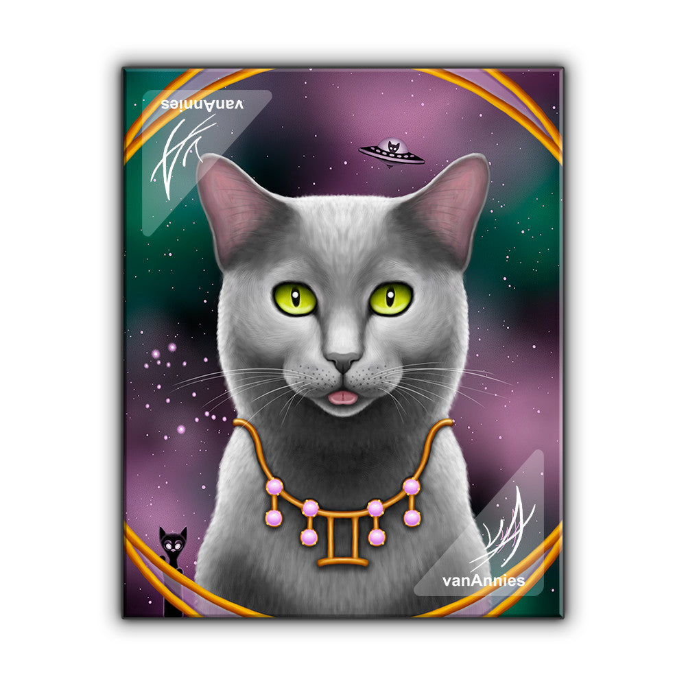 Zodiac Cat Gemini with June Birthstone Wrapped Canvas