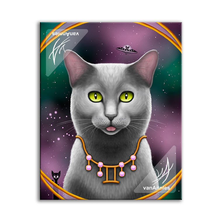 Zodiac Cat - Gemini / June 4x5 Canvas Board