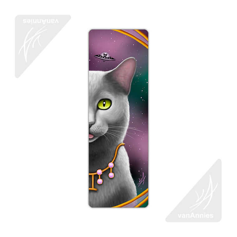 Zodiac Cat Gemini Metal Bookmark