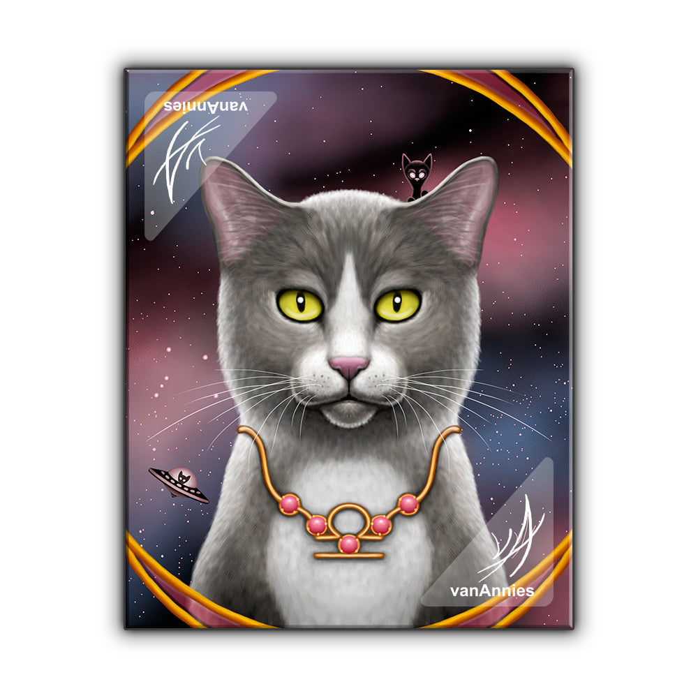 Zodiac Cat Libra with October Birthstone Wrapped Canvas
