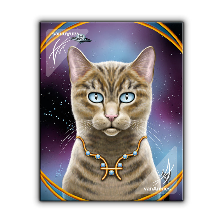 Zodiac Cat Pisces with March Birthstone Wrapped Canvas