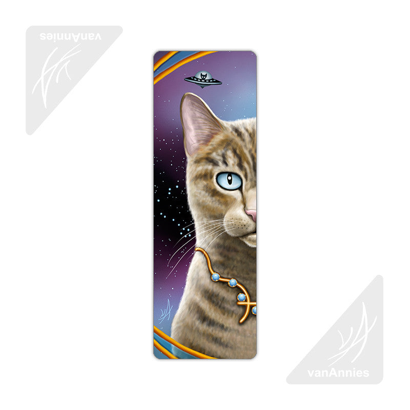 Zodiac Cat Pisces Metal Bookmark