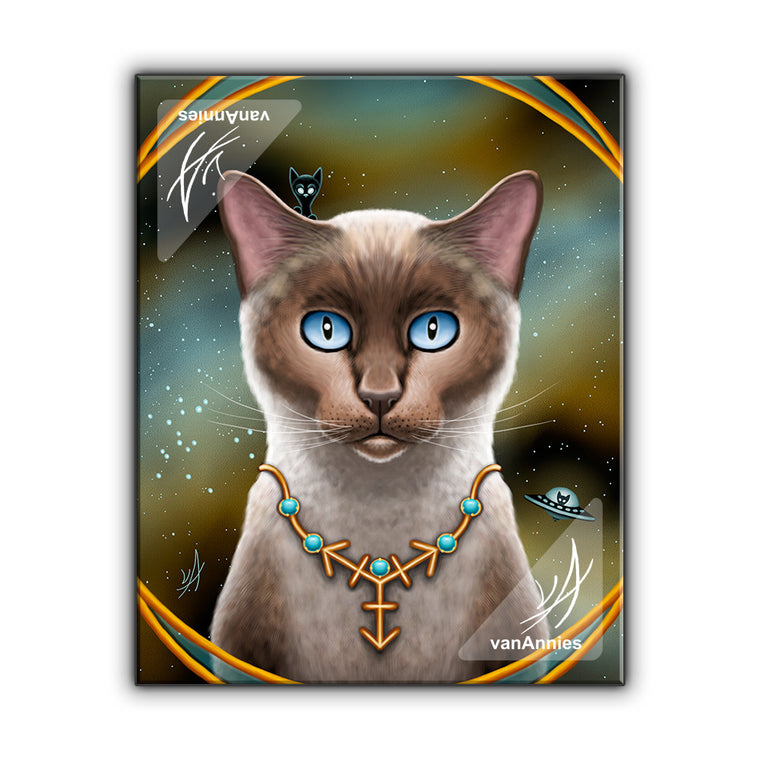 Zodiac Cat Sagittarius with December Birthstone Wrapped Canvas