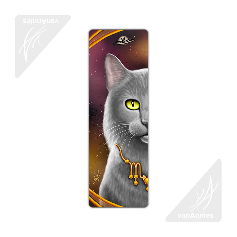 Zodiac Cat Scorpio Metal Bookmark